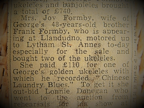George Formby ukulele-banjo - news cutting
