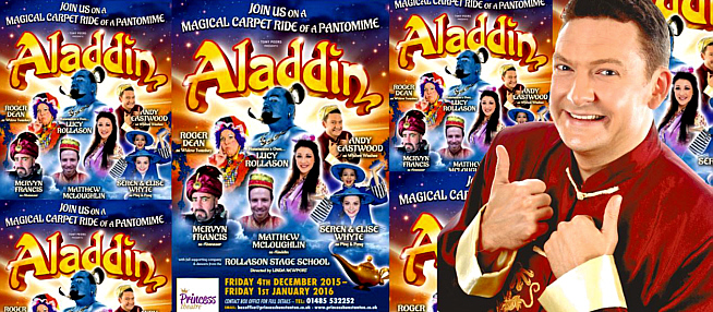 Andy Eastwood in Aladdin at the Princess Theatre, Hunstanton