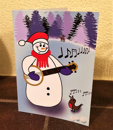 Christmas card - snowman with banjolele
